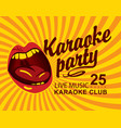 yellow banner for club with mouth singing karaoke vector image