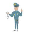 young hispanic policeman holding handcuffs vector image vector image