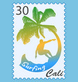 postage stamp with surfer vector image
