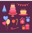 Set of objects Happy Birthday vector image