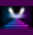 3d glowing neon stairs illuminated by spotlights vector image vector image