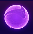 abstract mesh cliced sphere on dark violet vector image