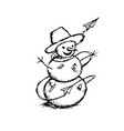 Abstract winter hand drawing of a snowman