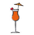 Alcohol drink icon cold cocktail with umbrella in