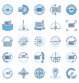 angle 180 degrees blue icons collection vector image