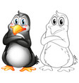 animal outline for cute penguin vector image vector image