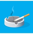 Ashtray with lighted cigarette on blue background vector image vector image
