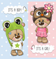 baby shower greeting card with cute bears vector image vector image