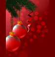 background from christmas balls are hanging a vector image vector image