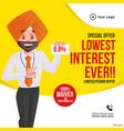banner design lowest interest ever vector image vector image