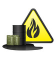 barrel two canisters with spilled fuel and danger vector image