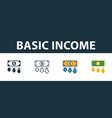 basic income icon set premium symbol in different vector image vector image