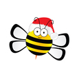 bee sweet with christmas hat in colorful vector image
