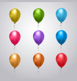 big set colorful balloons with ribbon on grey vector image