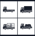 black silhouette small trucks vector image