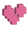 building bricks in 3d broken heart vector image vector image
