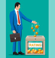 businessman and rating box vector image