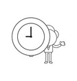 businessman character holding clock time black vector image vector image