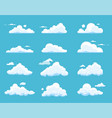 cartoon clouds isolated on blue background vector image vector image