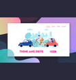 city traffic website landing page people driving vector image