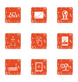 command search icons set grunge style vector image vector image