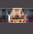 couple of arab seller presenting new car in vector image vector image