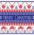 Dark blue and red Scandinavian Merry Christmas vector image vector image