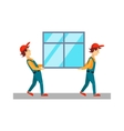 Delivery Men Carrying Window vector image