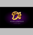 ds d s 3d gold golden alphabet letter metal logo vector image vector image