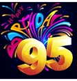 Fireworks Happy Birthday with a gold number 95 vector image vector image