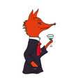 fox in a jacket with a glass of wine vector image