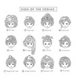 girls and zodiac signs vector image