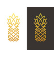 golden linear pineapple symbol vector image vector image
