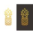 golden linear pineapple symbol vector image vector image