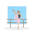 graceful ballerina dancer doing exercises at barre vector image vector image