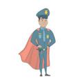 hispanic policeman wearing a red superhero cloak vector image vector image