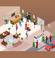 hotel interior isometric concept vector image vector image