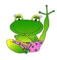 image cheerful green frog in pink panties vector image