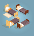 isometric cartoon wooden bed for one person vector image