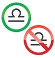 Libra permission signs set vector image