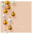 merry christmas card with hanging baubles vector image vector image