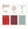 Merry christmas outline greeting card pattern set vector image vector image