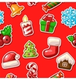 merry christmas seamless pattern set icons on red vector image vector image