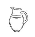 milk jug monochrome outline icon vector image vector image
