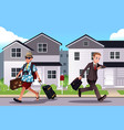 people going to work and vacation concept vector image vector image