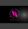 pink av brush stroke letter logo design vector image vector image