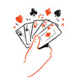 poker cards in hand casino symbol vector image