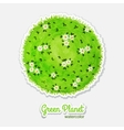Round watercolor meadow like planet with green