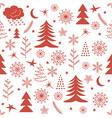 Seamless Christmas pattern red vector image