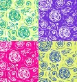Seamless hand drawn flowers pattern set vector image